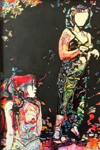 Frau, Abstrakt, Bunt, Malerei