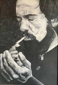 Mann, Zigarette, Bart, Schwarzweiß