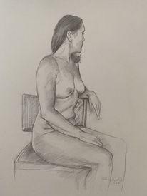 Frau, Sitzen, Akt, Zeichnung