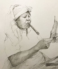 Frau, Arbeiterin, Portrait, Tuschmalerei