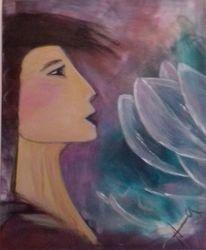 Portrait, Blüte, Frau, Acrylmalerei