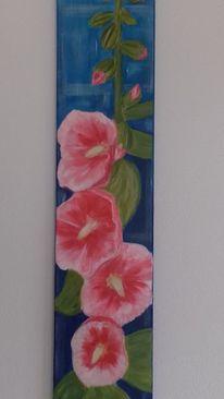 Acrylmalerei, Farben, Stockrose, Leuchtvoll
