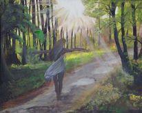 Wald, Frau, Tanz, Sonnenstrahlen