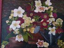 Gießkanne, Blumen, Weiß, Malerei
