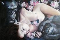 Menschen, Tiere, Expressionismus, Affe schimpanse