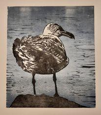Tiere, Linolschnitt, Möwe, Vogel