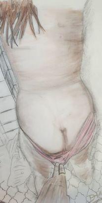 Bleistiftzeichnung, Buntstiftzeichnung, Frau, Akt