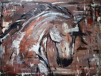 Acrylmalerei, Malerei, Pferde, Modern