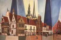 Marktplatz, Nicolai türme, Lemgo, Malerei