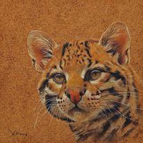 Portrait, Tiere, Ölmalerei, Ozelot