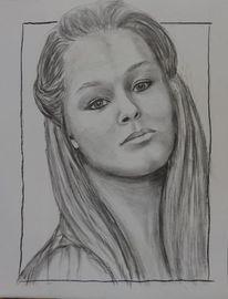 Junges mädchen, Portraitzeichnung, Frauenportrait, Gesicht