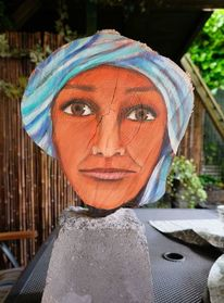 Portrait, Landschaft, Beduinen, Holzskulptur