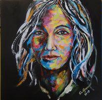 Frauenportrait, Gesicht, Schönheit, Acrylmalerei
