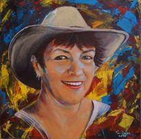 Frauenportrait, Acrylmalerei, Landschaft, Malerei