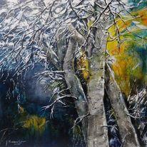 Schnee, Winterlandschaft, Acrylmalerei, Winterbäume