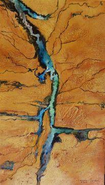 Flusslandschaft, Wüste, Schlucht, Mischtechnik