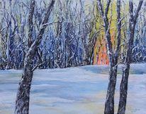 Morgenrot, Winterlandschaft, Winterbäume, Schnee