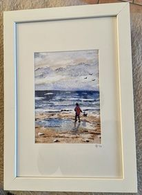 Strandspaziergang, Acrylmalerei, Meer, Wind