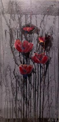 Acrylmalerei, Mohnblumen, Abstrakt, Mischtechnik