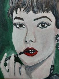Malerei, Frau, Portrait ölmalerei, Zigarre