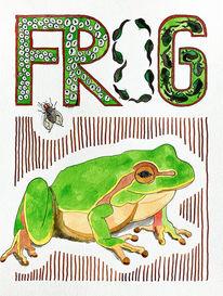 Frosch, Aquarellmalerei, Tuschmalerei, Illustration