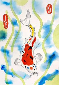 Japan, Tuschmalerei, Aquarellmalerei, Koi