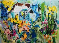 Bewegung, See, Landschaft, Malerei