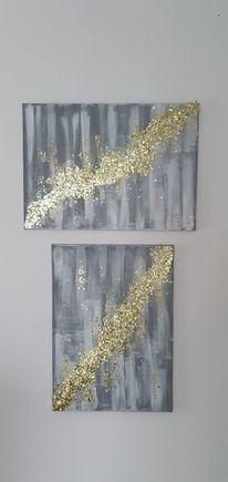 Acrylmalerei, Goldfolie, Grau, Malerei