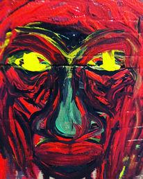 Gesicht, Rot, Gelb, Malerei
