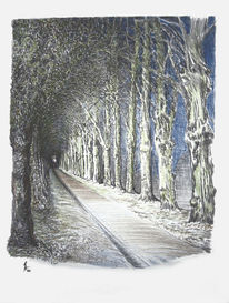 Wald, Nacht, Straße, Zeichnungen