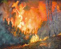 Wild, Rauch, Ölmalerei, Wald