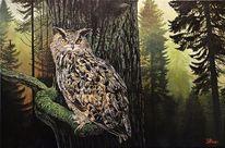 Tiere, Acrylmalerei, Eule, Malerei