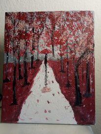 Malerei, Rot, Frau, Menschen