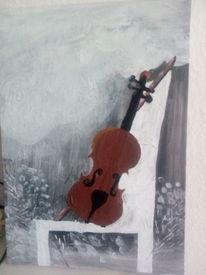 Geige, Stuhl, Fenster, Malerei