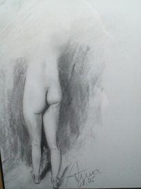 Studie, Menschen, Bleistiftzeichnung, Malerei