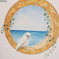 Papagei, Wandmalerei, Efeu, Kakadu