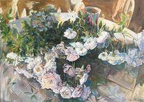 Malerei, Rose, Öl auf künstlerleinwand