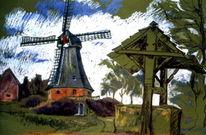 Landschaft, Windmühle, Pastellkreide auf künstlerpapier, Malerei