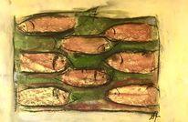 Fisch, Schwarm, Pastellmalerei, Tonpapier