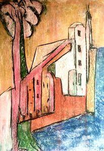 Baum, Ufer, Wehrmauer, Malerei