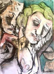 Paar, Pastellmalerei, Tonkarton, Malerei