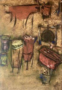 Trommel, Fell, Pastellmalerei, Malerei