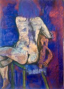 Blau, Stuhl, Rücken, Pastellmalerei
