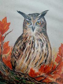 Uhu, Herbstlaub, Eule, Malerei