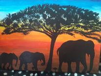 Elefant, Bunt, Sonnenaufgang, Malerei