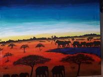 Bunt, Sonnenuntergang, Elefant, Malerei