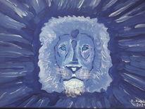 Blau, Löwe, Ausdruck, Malerei