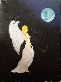 Bernuhigend, Engel, Weltall, Malerei