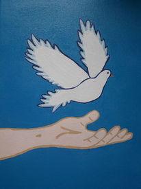 Hand, Frieden, Taube, Malerei