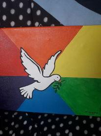 Bunt, Taube, Regenbogenfarben, Malerei
